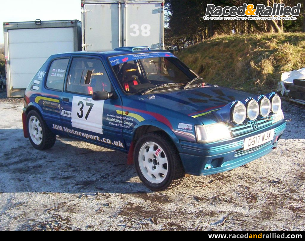 peugeot 205 gti rally car rally cars for sale at raced rallied rally cars for sale race. Black Bedroom Furniture Sets. Home Design Ideas